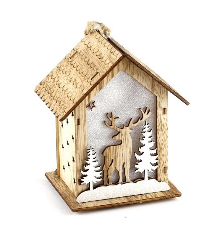 9f8f1dfde78a Χριστουγεννιάτικο ξύλινο φωτιζόμενο σπιτάκι 11Χ8Χ13εκ