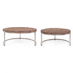 Rafter Low Coffee Table Σετ 2τμχ  Φ70x33|Φ90x40cm