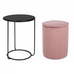Annika Ant.Pink Set2 Coffee Table- Φ32x42|Φ40x50cm