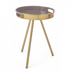 Μεταλλικό Inesh Taupe Coffee Table Φ37.5x55cm