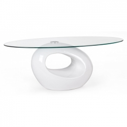 Dominique White Glass Coffee Table 115x65x42cm