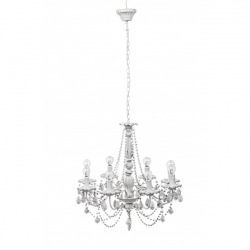 Beads White Chandelier 8Lights