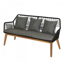 Καναπές 3 θέσεων Lounge Rope Design Seville Black