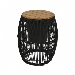 Deluxe Rope Coffee table - Σκαμπό Seville Black Φ40 Χ 49εκ