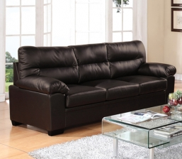 Imperial Καναπές 3-Θ Bonded Leather/Pu Σκ.Καφέ
