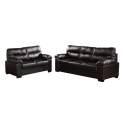 Imperial Set Καναπέδες (3Θέσ+2Θέσ) Bonded Leather/Pu Μαύρο